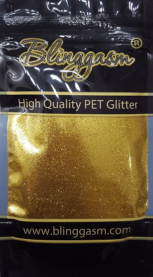 Metallic Solvent Resistant Blinggasm Polyester Glitter 3.5 oz By Weight .008 Or .015 Choose Size From Menu #4 B0203 LIGHT GOLD